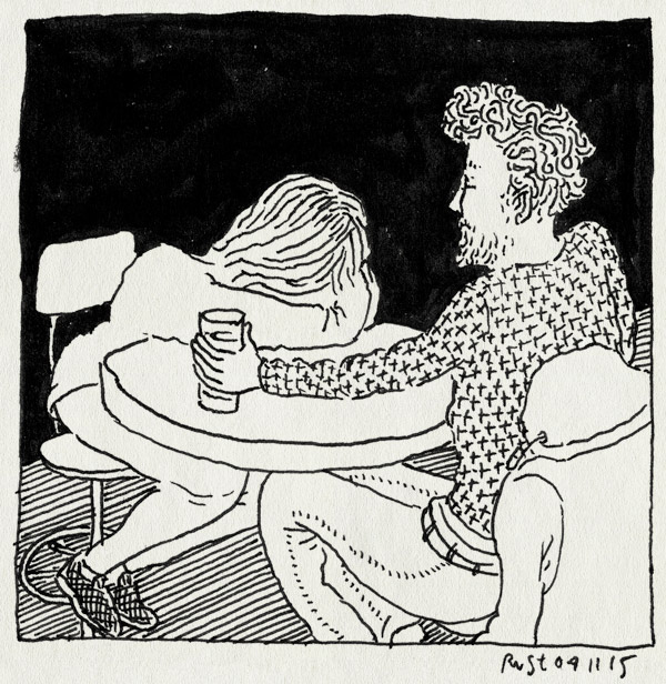 tekening 3085, bar, bier, drinken, mirjam, pking, praten, tafel