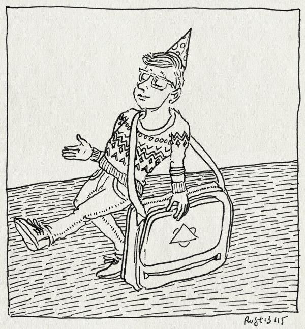 tekening 3094, 9, feesthoedje, feestmuts, jarig, midas, negen, schooltas, tas, verjaardag
