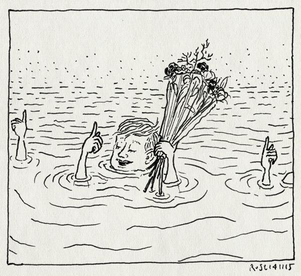 tekening 3095, afzwemmen, bloemen, diploma, jippie, midas, water, watertrappelen, zwemdiploma A, zwemmen