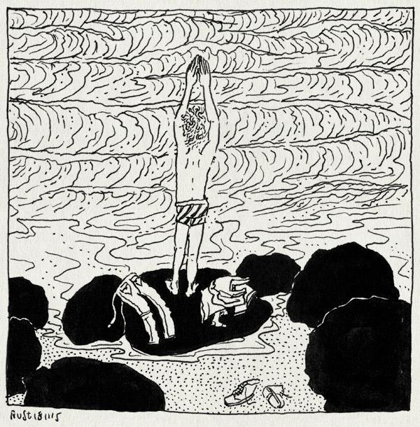 tekening 3099, duik, golven, kleren, onderbroek, portugal, rotsen, sintra, zee, zwemmen