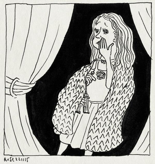 tekening 3103, actrice, alwine, coulissen, eiffeltoren, schuifdeuren, stukje, toneelstuk, verkleden