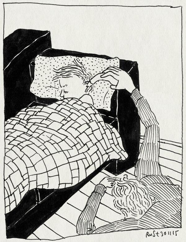 tekening 3111, bed, koorts, midas, oorthermometer, stiekem, temperaturen, ziek