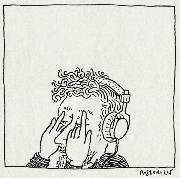 tekening 3115, alleen, bah, koptelefoon, muziek, ogen, zelf