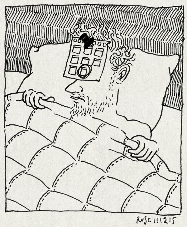 tekening 3122, agenda, dubbele afspraak, genant, slapen, uitslapen, vergeten