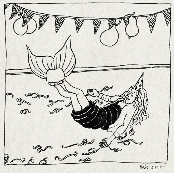tekening 3123, alwine, ballonnen, cadeau, jarig, serpentine, slingers, staart, zeemeermin, zeemeerminnenstaart, zwemvliezen