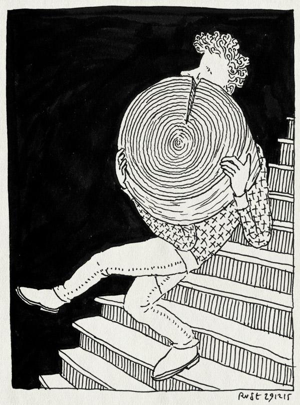 tekening 3140, arja, blok, gijs, log, tillen, trap, verhuizen, verhuizing, zwaar