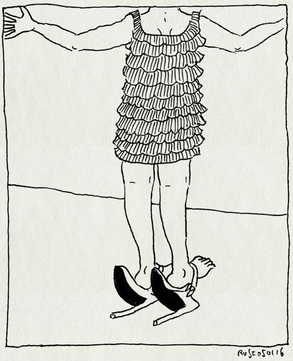 tekening 3147, bellevue lunchtheater, feminisme, golden palace, hakken, jurkje, seksbom, voorstelling