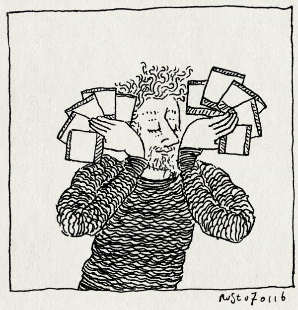 tekening 3149, polaroids, waaier