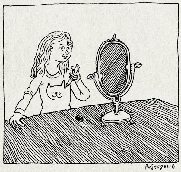 tekening 3151, alwine, kat, sharpies, shirt, spiegel, tekenen, textielstiften, zelfgemaakt