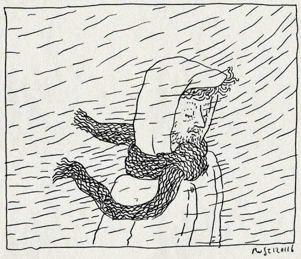 tekening 3154, capuchon, nat, regen, sjaal