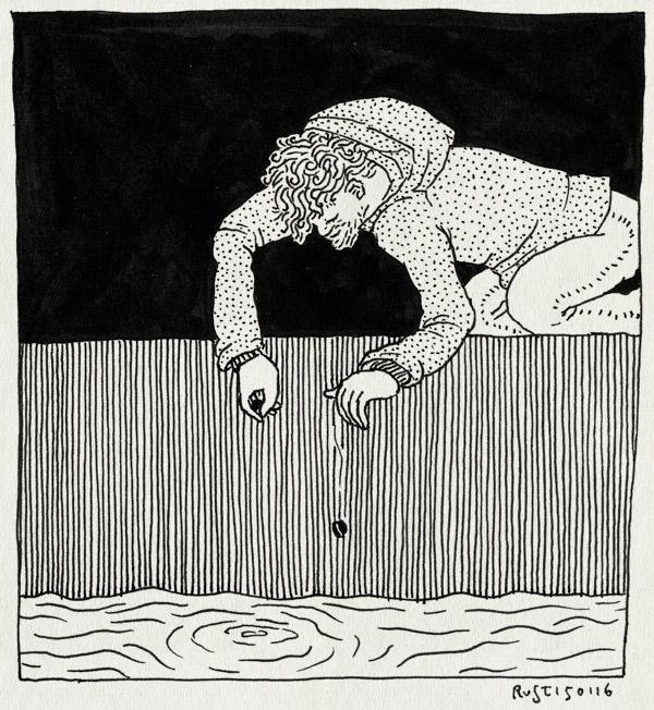 tekening 3157, golven, nbe, onderzoek, rimpels, steentje, water