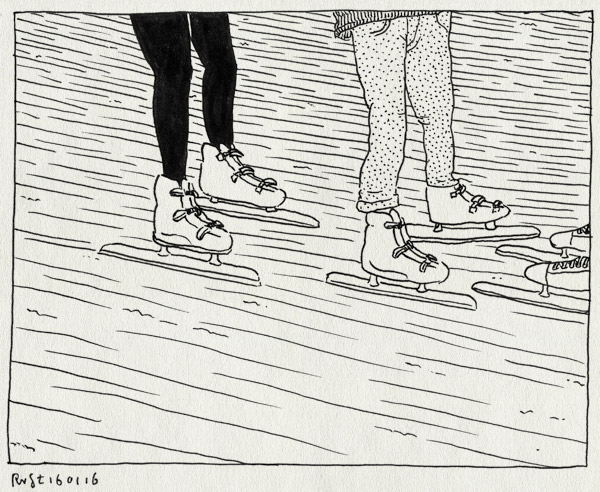 tekening 3158, alwine, emma, ijs, jaap edenbaan, midas, schaatsen, sophie