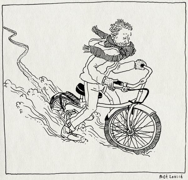 tekening 3162, berlijn, fietsen, huurfiets, remmen, sjaal, sneeuw