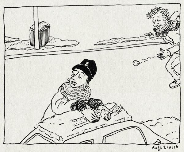 tekening 3163, berlijn, mirjam, muts, sneeuw, sneeuwballen, sneeuwballen gooien, stiekem
