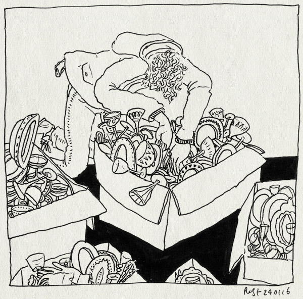 tekening 3166, berlijn, dozen, glaasjes, glaswerk, kristal, mauerpark, rommelmarkt, servies, struinen