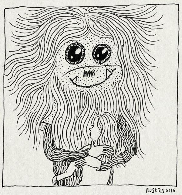 tekening 3167, alwine, beest, berlijn, cute, knuffel, knuffelen, masker, monster, ogen, souvenir