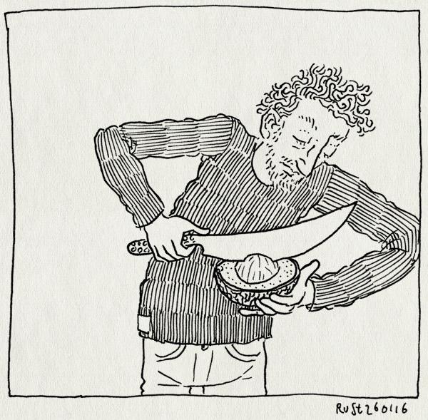 tekening 3168, avocado, mes, ontbijt, pit, snijden