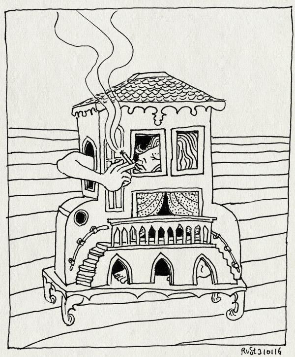 tekening 3173, alice, anneke, huisje, roken, stadsschouwburg