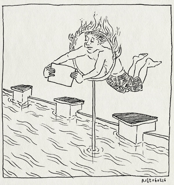 tekening 3179, angst, brandende hoepel, diploma, diploma B, duiken, gat, midas, mirandabad, overwinnen, vuur, zwembad, zwemles, zwemmen