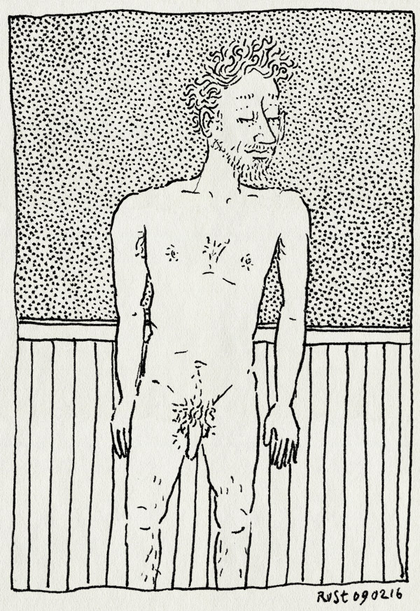 tekening 3182, eerste, moest ook eens, naakt, peniscollectief