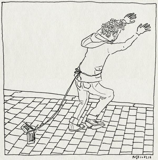 tekening 3183, kwijt, paniek, poppin park, portemonnee, rene, rug, stoep, touwtje, vastbinden, zoek, zoeken