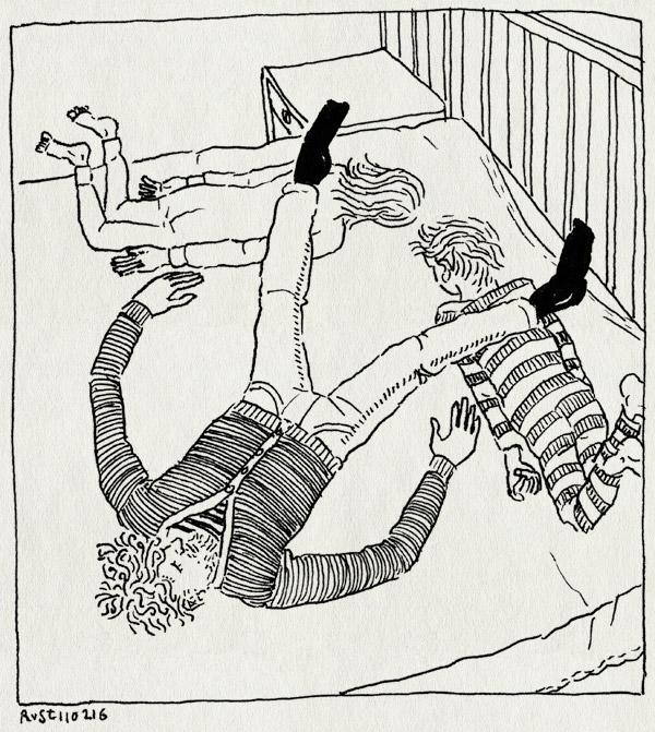 tekening 3184, alwine, avondritueel, codewoord, klem, midas, ritueel, rommelen, stoeien, stoeien op het bed, traditie