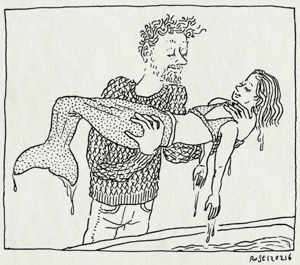 tekening 3185, alwine, bad, dragen, druipen, staart, zeemeermin, zeemeerminnenpak, zeemeerminnenstaart
