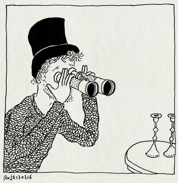 tekening 3186, antiek, bargainhuntig, evan, hilversum, hoge hoed, kandelaars, top hat, verrekijker, vondst