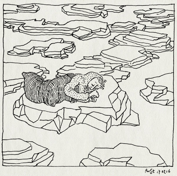 tekening 3190, beyond sleep, film, finmark, gijs, moot meer slapen, rots, slaapzak, slapen, tuschinski