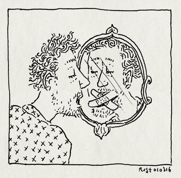 tekening 3203, de schaduw van mijn moeder, duplex, ellen deckwitz, pleister, spiegel, strip