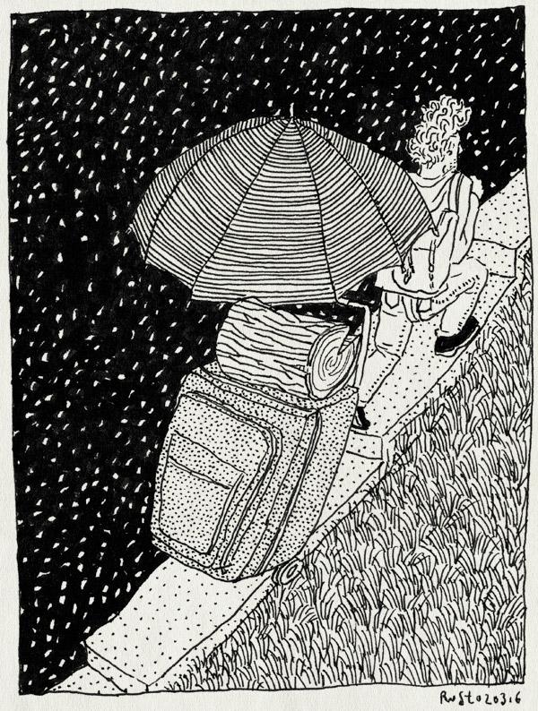 tekening 3204, ardennen, ardennes, bagage, blok, blokkenwagen, gras, haardhout, nacht, open haard, paraplu, sneeuw