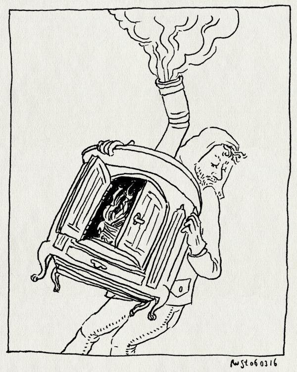 tekening 3208, ardennes, haard, hastiere, houtkachel, jammer, kachel, meenemen, mirjam, terug, vuur
