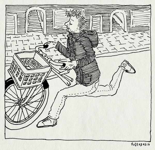 tekening 3211, amsterdam, doorgeroest, fiets, gebroken, half, kapot, kruisframe, snik, straat, stuk