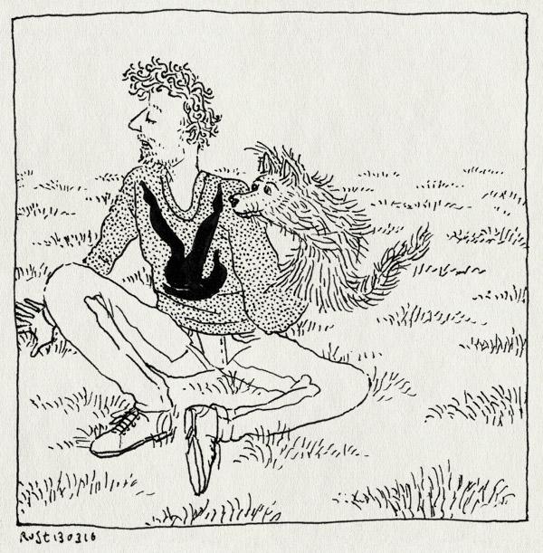 tekening 3215, gras, handpop, hond, kijkdatismnschaduw, midas, park, parra, sarphatipark, schaduw, spel, stemmen, trui