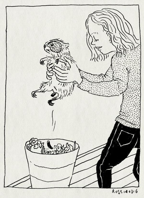tekening 3216, alwine, bubbel, cavia, drolletje, poepen, prullenbak, zindelijk