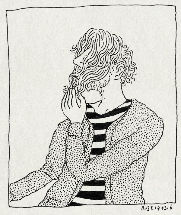 tekening 3219, baard, haar, kapper, krullen, lang, mond, opeten