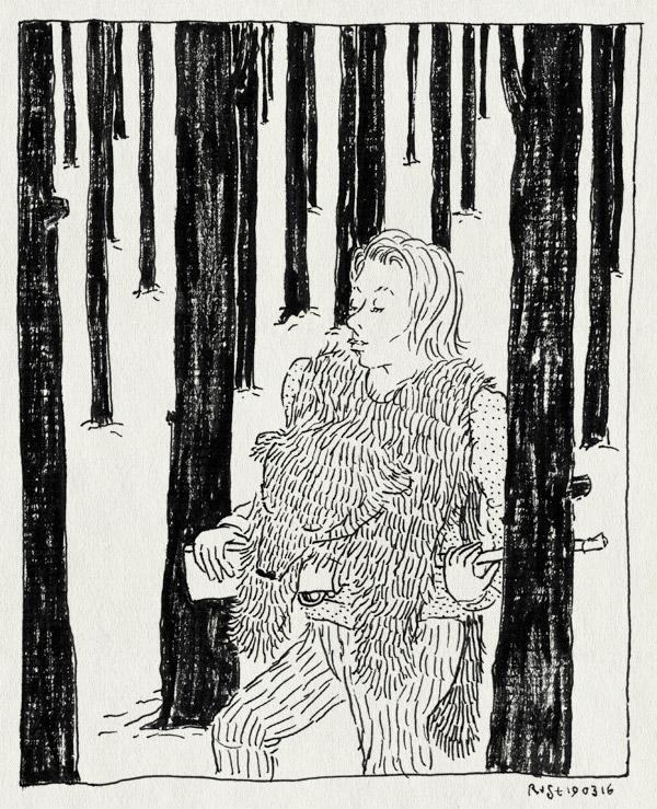 tekening 3221, beer, berenvel, bomen, bos, film, geweer, mirjam, the revenant