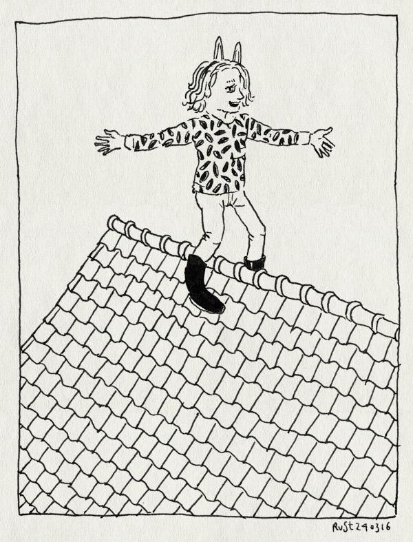 tekening 3226, alwine, dak, jekerstraat, kom van dat dak af, konijnenoortjes, musical, musicalles, uitvoering zingen