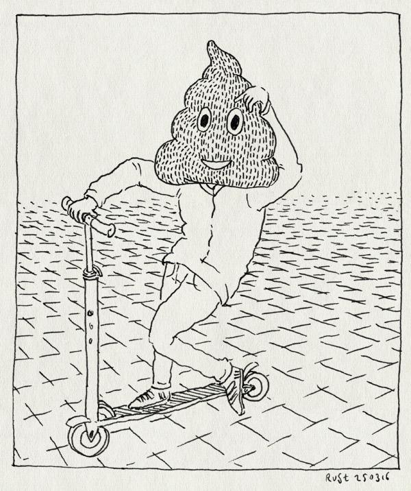 tekening 3227, emoji, emojikussentje, kakhoofd, kussentje, midas, piephoofd, step, stoep, stuntstep