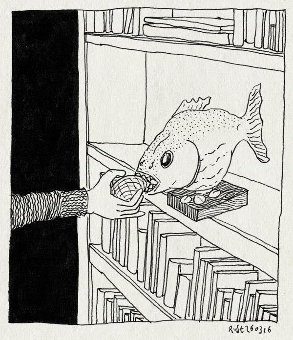 tekening 3228, boekenkast, paasei, pasen, piranha, verstoppen