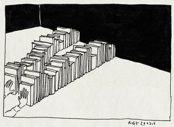 tekening 3231, boeken, ordenen, sorteren, veel, werk