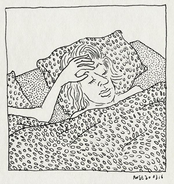 tekening 3232, bed, dekbed, lief, mirjam, temperatuur, ziek