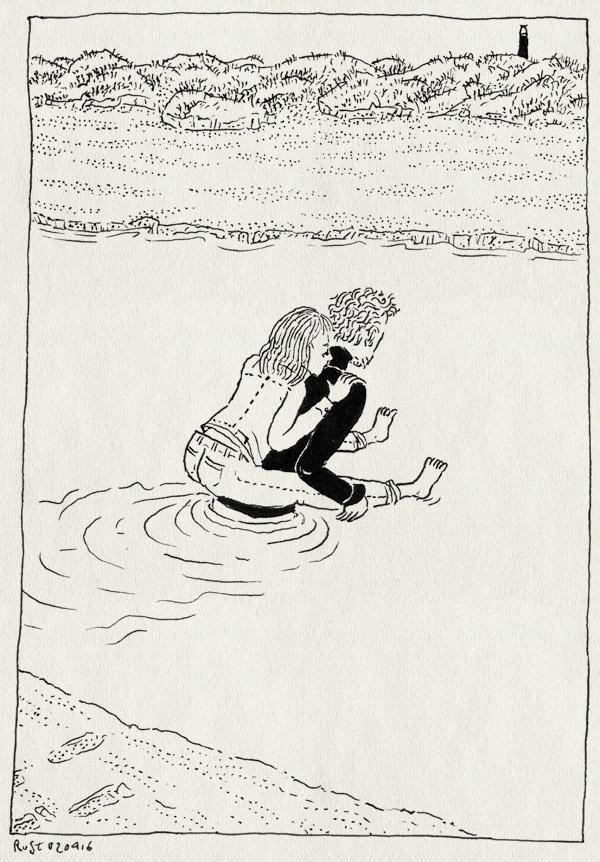 tekening 3235, christoffel, karen, natte voeten, paardje, pierenbadje, rug, schier, schiermonnikoog, strand, tillen, van dijk, zee