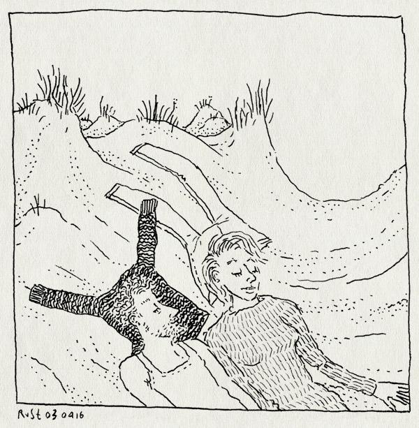 tekening 3236, duinen, duinpan, duinpannetje, helmgras, kleren, liggen, mirjam, schier, schiermonnikoog