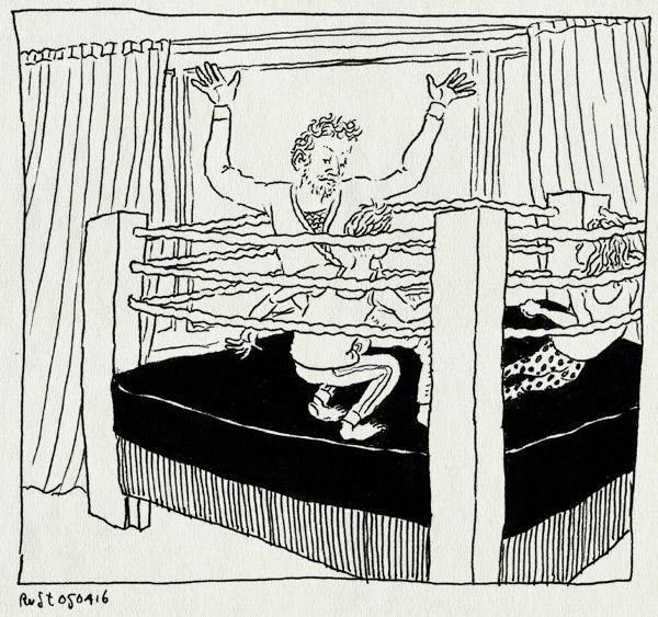 tekening 3238, alwine, bed, boksring, midas, slaapkamer, stoeien, stoeien op het bed