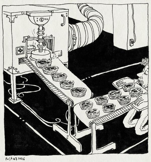 tekening 3240, bliksembezoek, drukkerij, eten, lissabon, lopende band, machine, pastels de nata, portugal, quetzal, sintra, verslaafd, werktrip, wijnetiketten