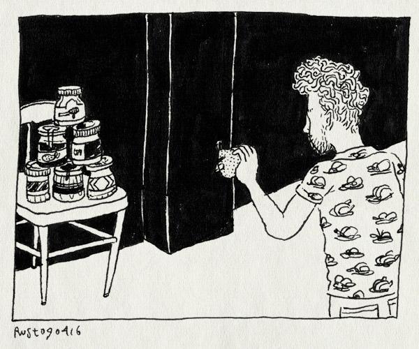tekening 3242, angry birds, appelstroop, ballen gooien, chocopasta, jam, nutella, pindakaas, potten, spel