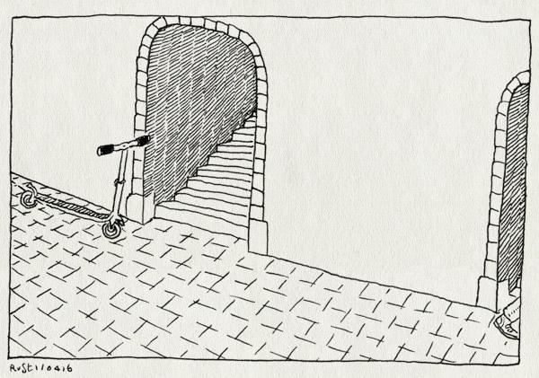 tekening 3244, buiten, maasstraat, portiek, portiekjes, step, straat, vergeten