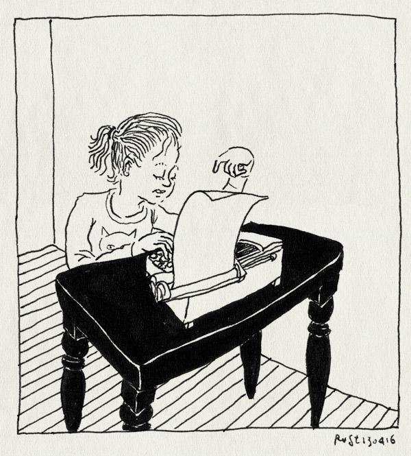 tekening 3246, alwine, churchilllaan, martine, typen, typmachine