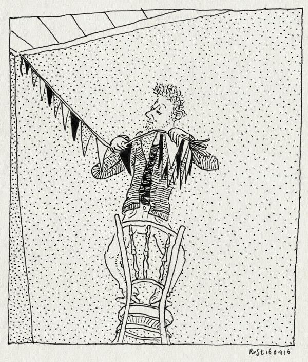 tekening 3249, alleen, kinderfeestje, midas, ophangen, slingers, stoel, vlaggetjes, weghalen